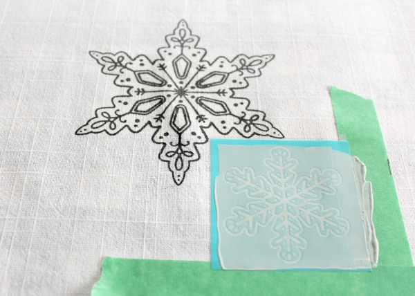 Screen Printing a Snowflake onto Fabric
