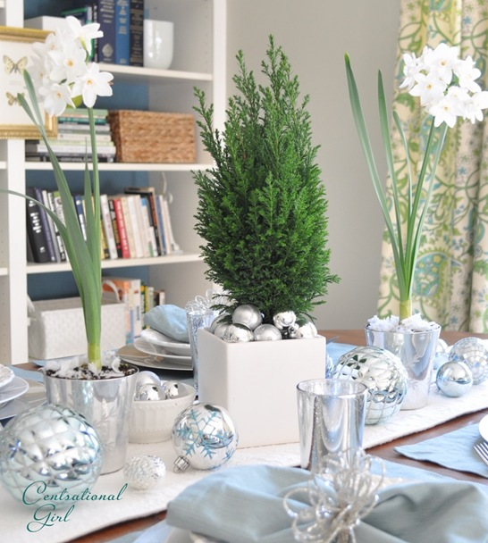 Paperwhites on Christmas table by Centsational Girl