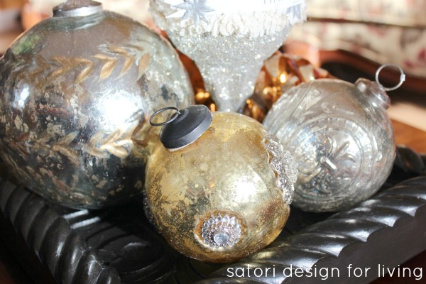 Christmas House Tour- Gold and Silver Vintage Ornaments