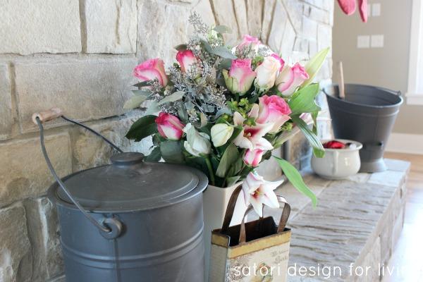 Pink Roses on Mantel | Christmas House Tour | Satori Design for Living