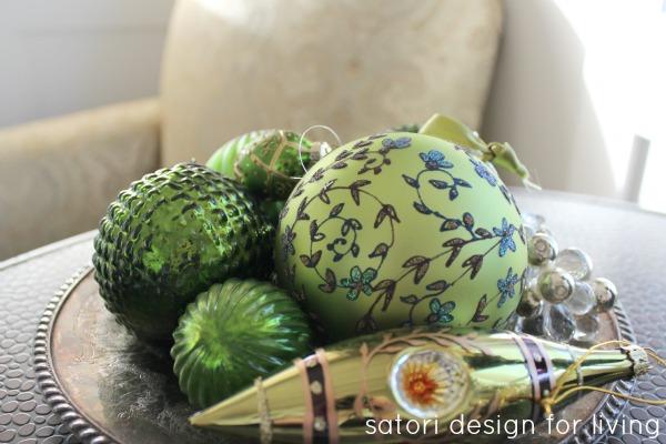 Green Ornaments | Christmas House Tour | Satori Design for Living