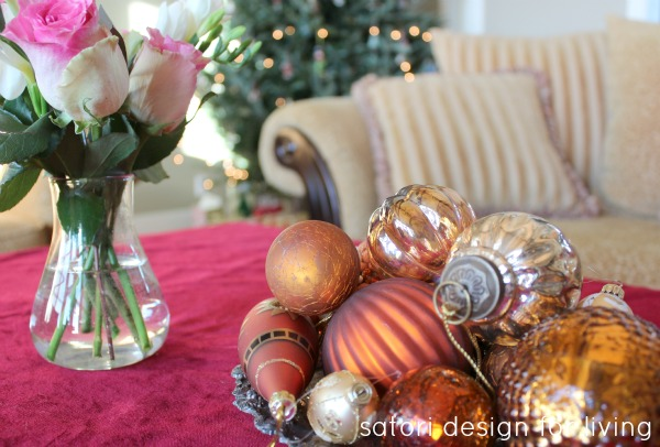 Gold Ornaments in Bowl | Christmas House Tour | Satori Design for Living