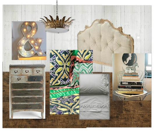 Vintage Inspired Bedroom Mood Board / Designer Challenge on SatoriDesignforLiving.com
