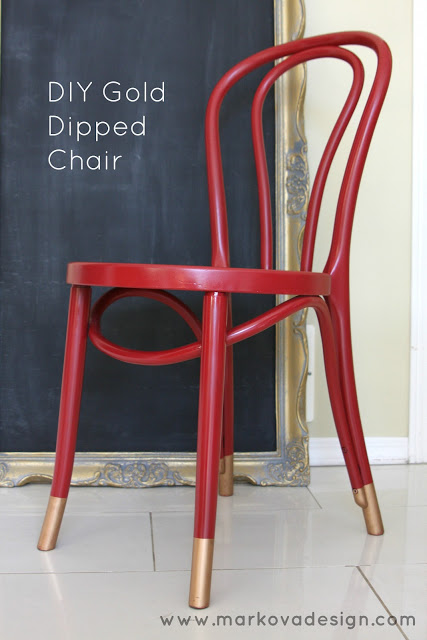 Chair Makeover with Paint - Red Painted Chair With Gold Dipped Legs
