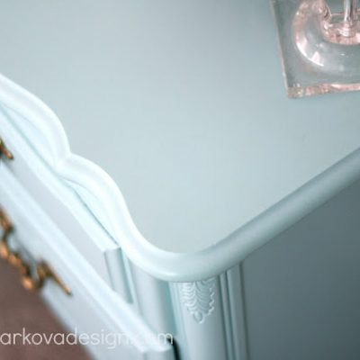 Freshening Up with Paint- Light Blue Painted Dresser with Brass Hardware