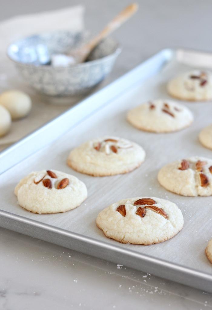 Gluten Free Greek Almond Cookies on Baking Sheet
