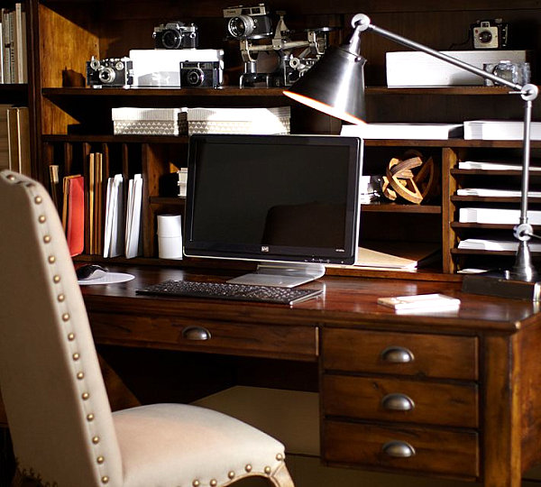 Keyhole Desk - Distressed Wood Desk and Hutch - Pottery Barn