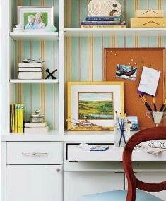 Adding Interest to a Desk With Wallpaper - Style at Home Magazine