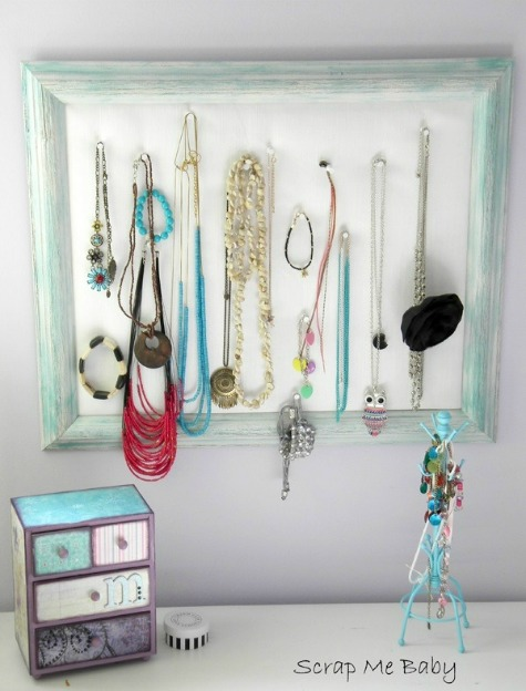 DIY Picture Frame Jewelry Hanger with Necklaces