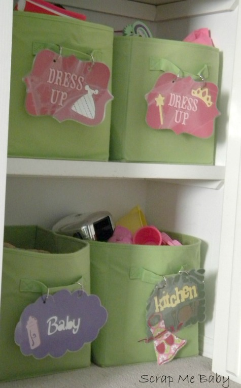 Girl's Room Toy Organization - Bins with DIY Labels