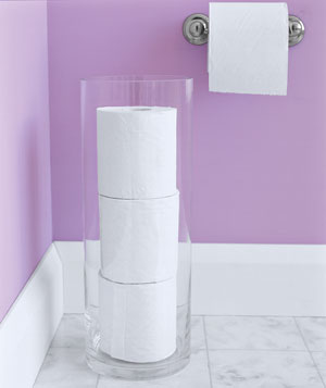 Decorating With Glass Cylinders - Toilet Paper Storage - Real Simple