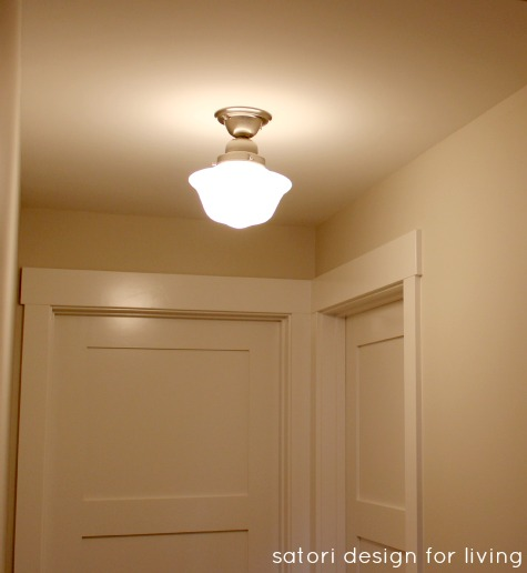 Semi-flush Schoolhouse Light Fixture in Basement Hallway - Satori Design for Living
