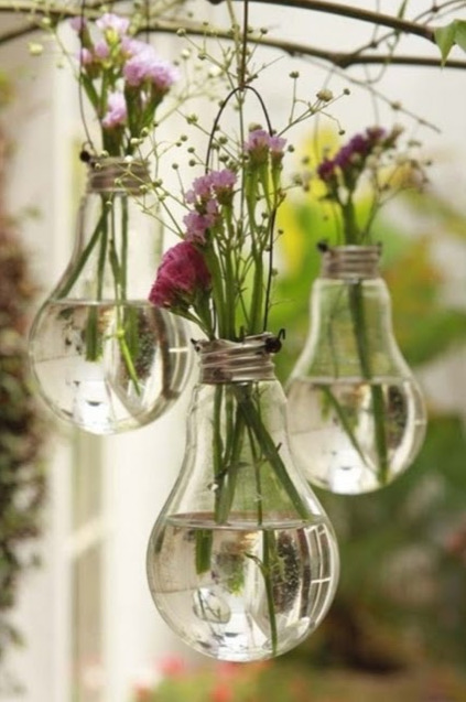 Hanging Vase Made Out of Repurposed Lightbulb with Tiny Blooms by Exclusive Design Art