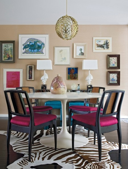 Pink, Black and White Dining Room - Eclectic Mix - Angie Hranowsky
