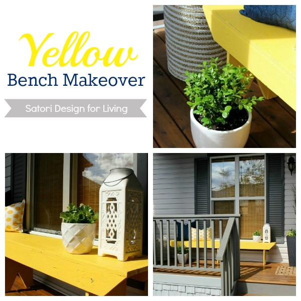 Front Porch Decorating Ideas - Yellow Bench Makeover - Satori Design for Living