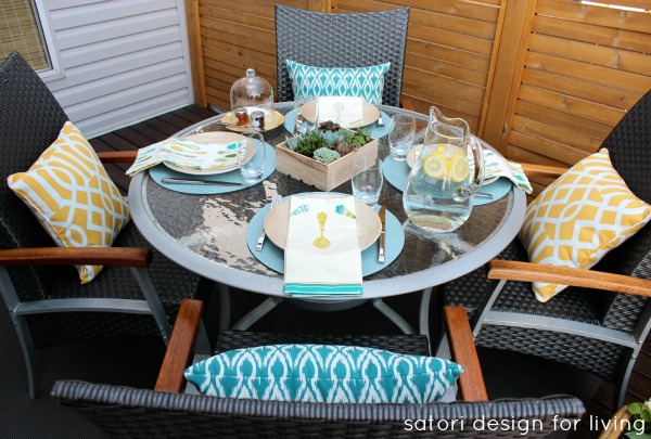 Outdoor Brunch Table Setting Ideas - Teal, Yellow and Grey Color Palette - Satori Design for Living