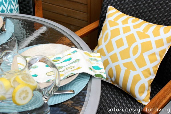 Outdoor Brunch Tablescape - Yellow Trellis Outdoor Pillows - Satori Design for Living