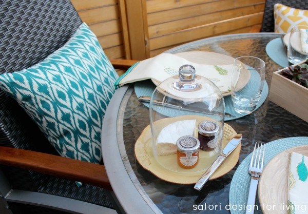 Outdoor Dining - Table Decorating Ideas for Entertaining - Teal Ikat Outdoor Pillow from Target - Satori Design for Living