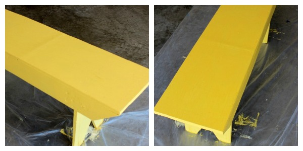 Bright Yellow Bench Makeover - DIY Outdoor Paint Project - Behr Macaw - Satori Design for Living