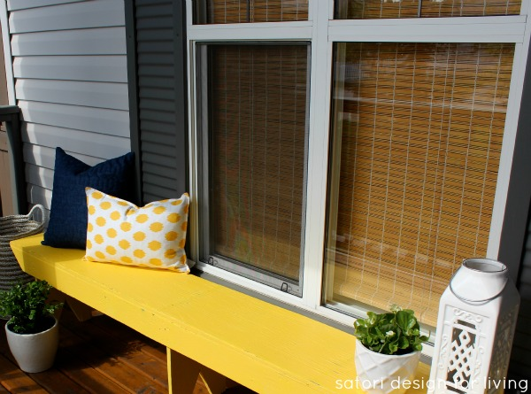 An old bench given a new life with bright yellow paint - Satori Design for Living
