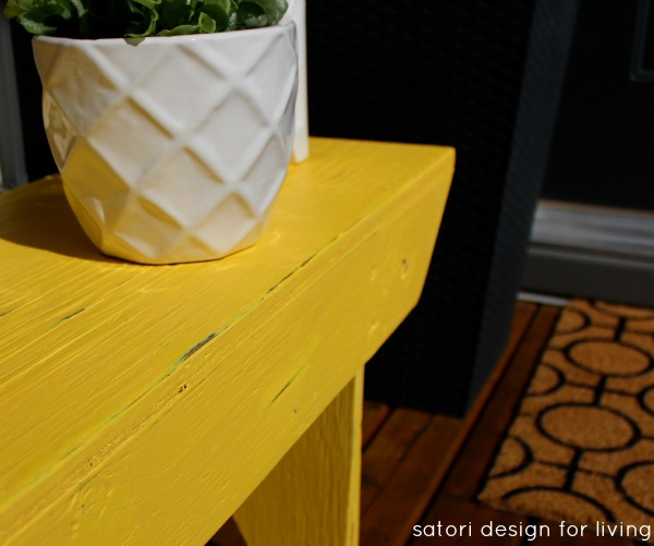 Yellow Bench Makeover - DIY Outdoor Paint Project - Satori Design for Living