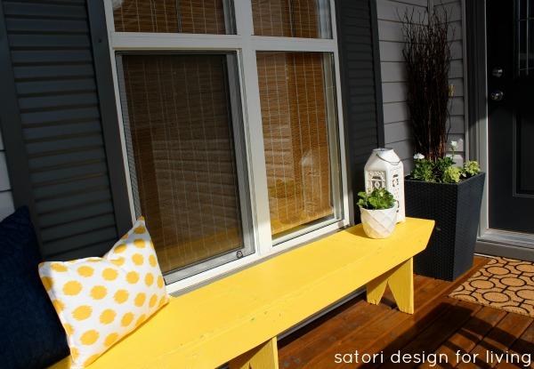 Front Porch Decorating - Yellow Bench and Ikat Pillow - Satori Design for Living