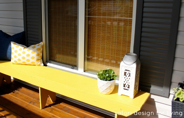 Yellow Bench and Potted White and Green Begonias - Satori Design for Living