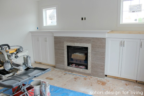 Design Project - Living Room Fireplace and White Built-ins