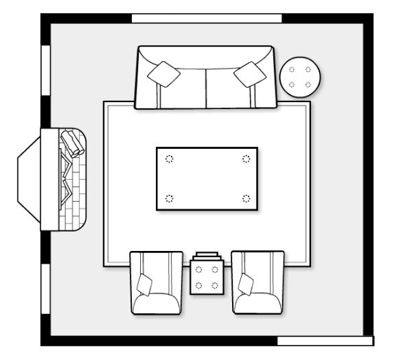 Interior Design Project- Living Room Furniture Space Plan by Satori Design for Living
