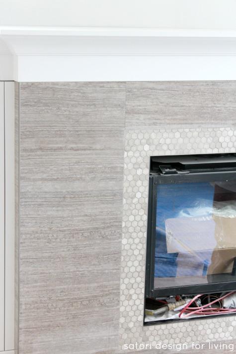 Marble Fireplace Surround with White Mantel - PROGRESS