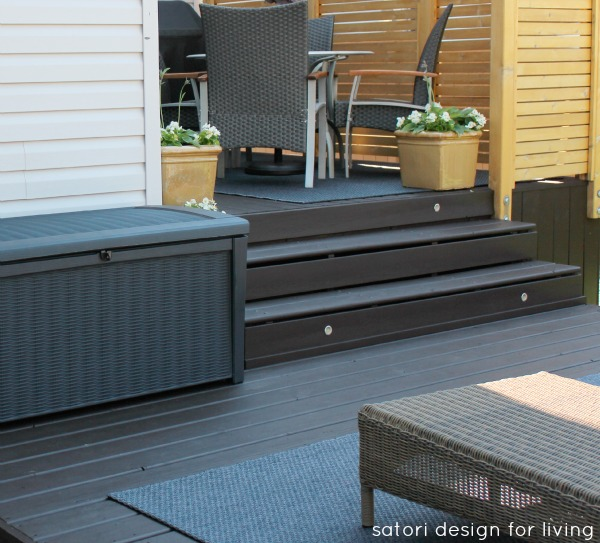 Backyard Updates - Behr Cordovan Brown in Solid for the Deck along with Wicker Lounge Chairs - Satori Design for Living