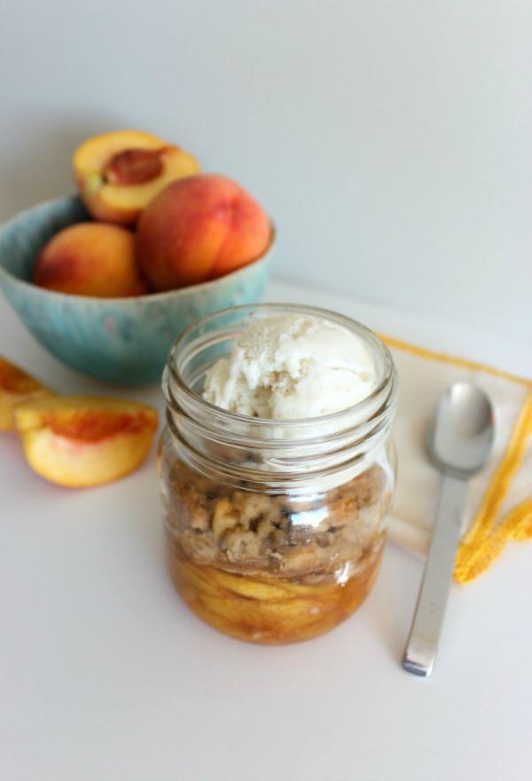 Mason Jar Peach Crisp with Vanilla Ice Cream