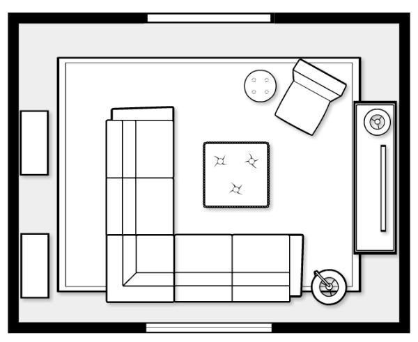 Basement Family Room Space Plan - Satori Design for Living