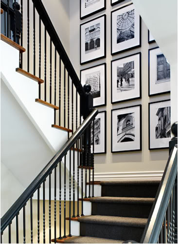 Black and White Photography - Hanging Art in the Stairwell - Donna Griffith Photography