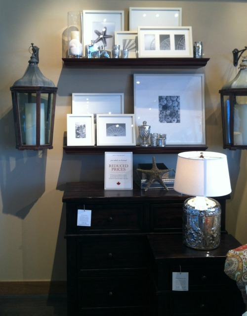 Pottery Barn Picture Ledges and White Frames