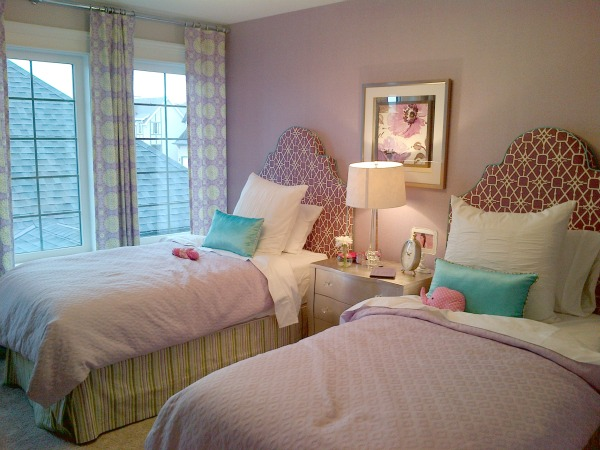 Purple Girl's Bedroom - Graphic Upholstered Headboards - Morrison Homes