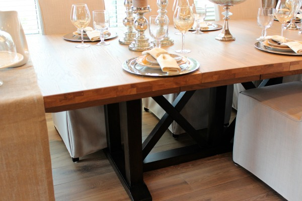 Wood Trestle Dining Table with X Base