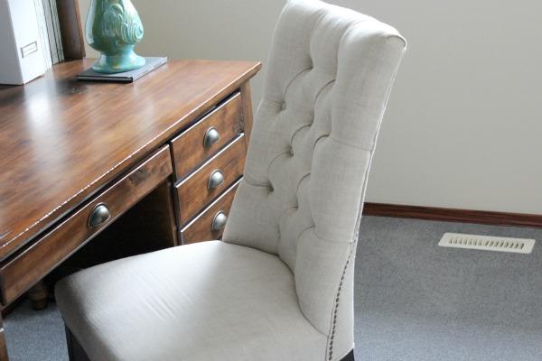 Button Tufted Belgian Linen Chair