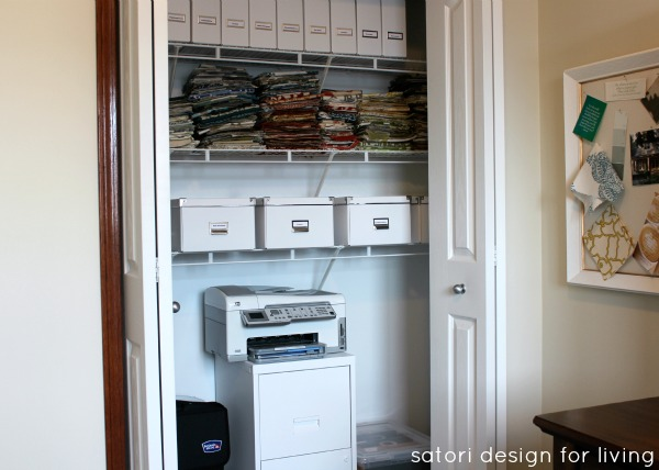 Organized Office Closet with White Painted File Cabinet