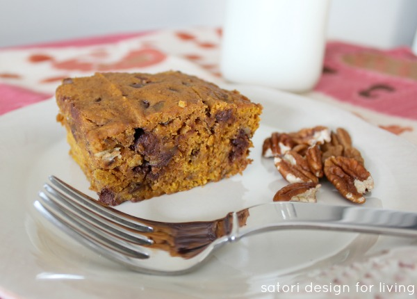Pumpkin Cake with Milk Chocolate Chips and Pecans