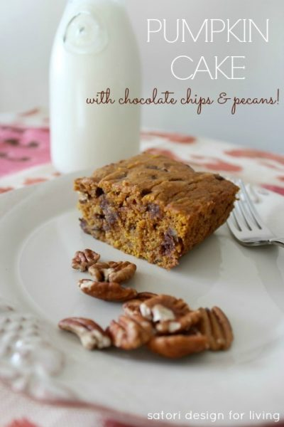 You've gotta try this recipe for decadent pumpkin cake with chocolate chips and pecans. Super moist and perfect for fall entertaining!
