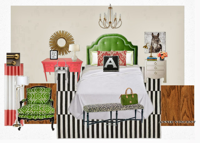 Bedroom Mood Board with Dorothy Draper Pink Desk - Designer Challenge Hosted by Satori Design for Living