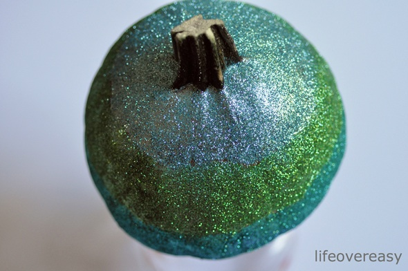 Blue and Green Ombre Glitter Pumpkin Tutorial - Life Over Easy