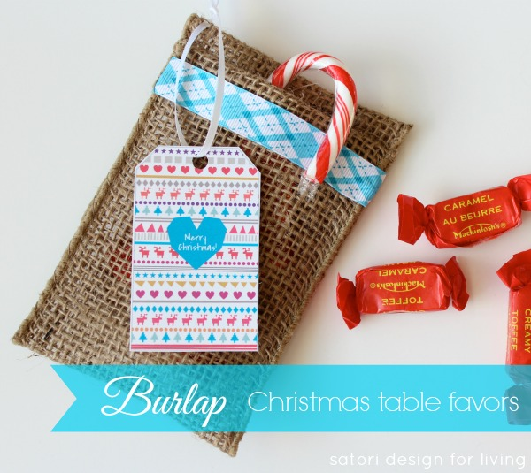 Burlap Table Favors for Christmas - Satori Design for Living