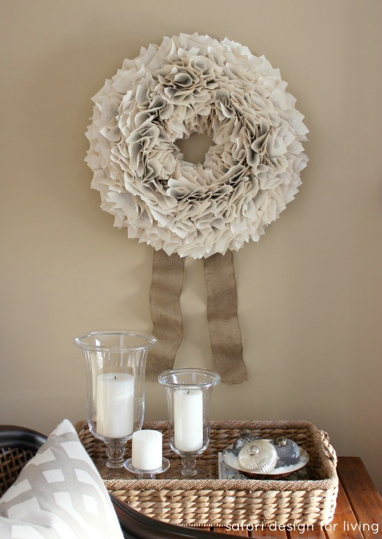Wreath Made From Book Pages for Christmas - Satori Design for Living