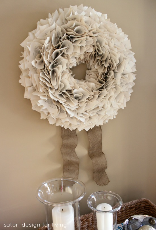 DIY Book Page Wreath with Burlap Ribbon - Satori Design for Living