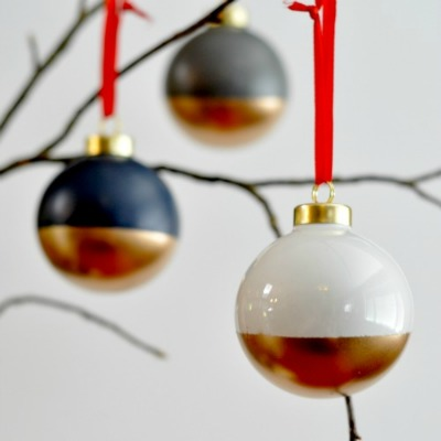 DIY Gold Dipped Ornaments - Suburble