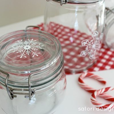 Hand Painted Glass Canisters- tutorial at Satori Design for Living