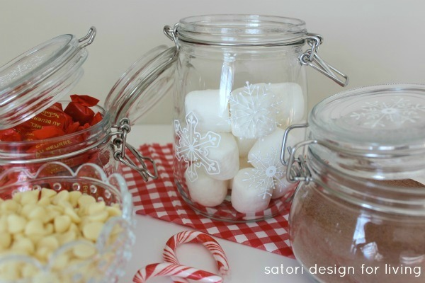 DIY Snowflake Glass Canisters Using Glass Paint - Satori Design for Living