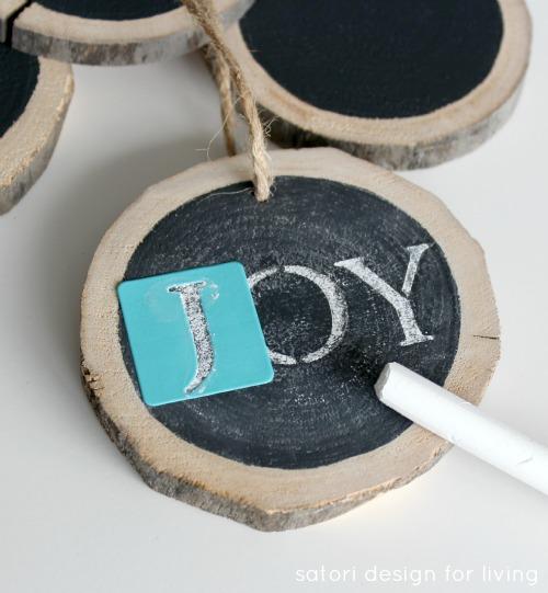 JOY Log Slice Chalkboard Ornament for Christmas Tree